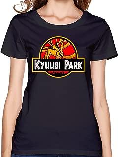 Women's Naruto Kyuubi Nine Tails Jurassic Park Tribute Tshirt Black