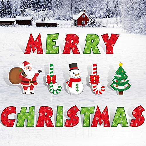 PLULON 19Pcs Merry Christmas Yard Lawn Sign with Stakes 14.2Inch, Xmas Yard Lawn Sign, Merry Christmas Letters with Santa Claus, Christmas Tree, Snowman, Candy Cane for Outdoor Christmas Decorations