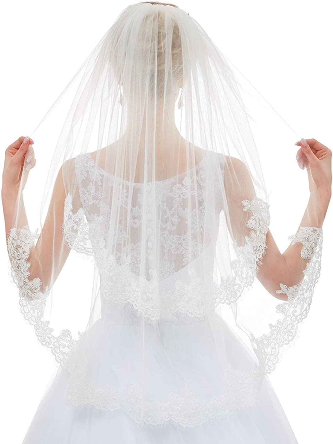 Greenia 2 Tier Lace Veil with Comb Short GNV11