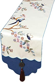 HYDT Camino de Mesa Corredor Blanco y Azul de la Tabla con Las borlas Bandera de la Tabla de la impresión del Estilo Chin...