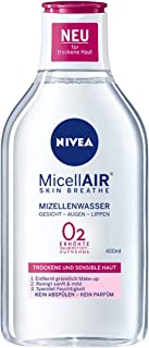 NIVEA MicellAIR Skin Breathe Mizellenwasser für trockene Haut im 1er Pack 1 x 400 ml, All-in-1 Make-up Entferner für erhöhte Sauerstoffaufnahme, Mizellen Reinigungswasser für 0 % Produktrückstände