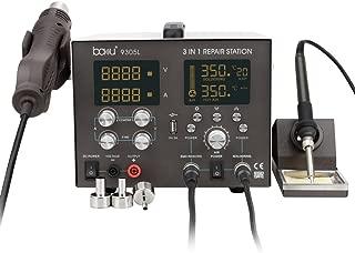 BAKU Digital Soldering Station - Professional 4 in 1 Solder Iron & SMD Hot Air Gun Rework Station & Variable DC Power Supply 30V 5A(BA-9305L)