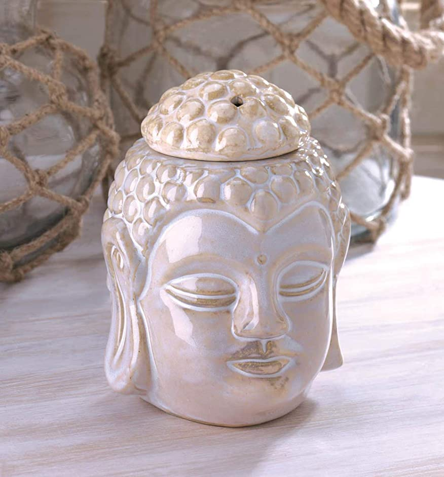 wakatobi White Buddha Ceramic Statue Candle Holder Wax Tart Oil Warmer Burner Diffuser
