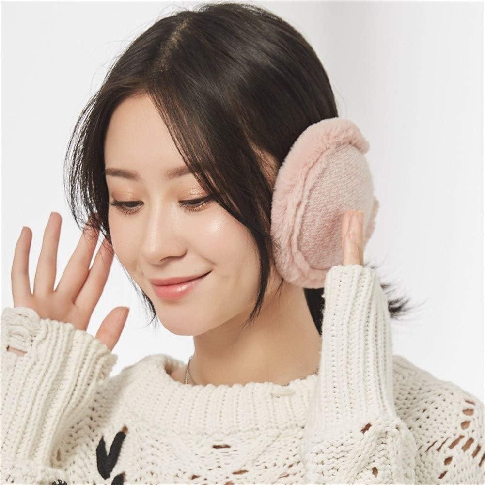 ZYXLN-Earmuffs,Warm Earmuffs Girls Winter Earmuffs Winter Knitted Earmuffs Antifreeze Collapsible Ear Warmer Lovely Fluffy Earmuffs Behind The Head Earmuffs (Color : Pink)