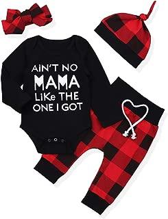 Newborn Infant Baby Boy Girl Clothes Long Sleeve Romper Top,Plaid Pants+ Cute Hat 4Pcs Clothes Outfits Set
