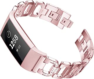 Maxjoy Compatible with Fitbit Charge 3 Bands, Charge 3 SE Metal Band Women Diamond Rhinestone Bracelet Chain Strap Replacement for Fitbit Charge3/ Charge3 SE Tracker Wristband Black, Silver, Rose Gold