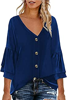 LIM&Shop Women Summer Tunic Top Button Up Casual T-Shirt Short Sleeves Crew Neck Flowy Shirt Plus Size Blouses V-Neck