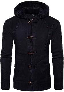 Giacca Invernale da Giacca Uomo Cappotto Semplice Stile Trench da Outwear Tinta Unita Manica Lunga con Cappuccio in Vellut...