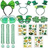 Chnaivy 14PCS St. Patricks Day Accessoires Shamrock Tatouages temporaires, Bandeaux, Lunettes, Colliers pour Les Festivals, défilés, et Irlandais Parti à thème Favor Fournitures Décorations