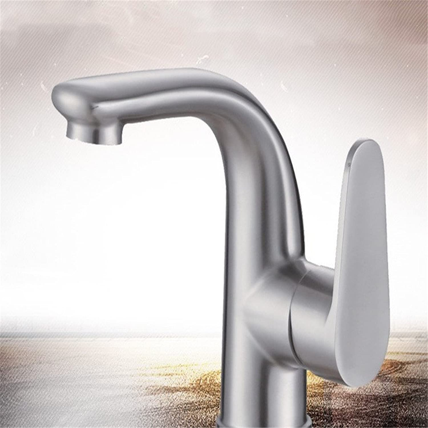 SHLONG Tap Lead-Free 304 Stainless Steel Basin Faucet Brushed Single Hole Hot and Cold Bathroom Toilet