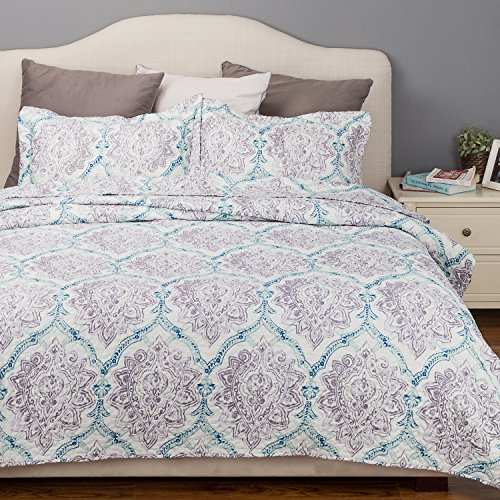 Bedsure Flower Quilt Paisley Purple Taupe&Indigo Coverlet Full/Queen Size (90