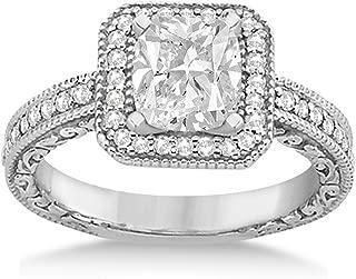 14k Gold Milgrain Square Halo Diamond Engagement Ring (0.32ct) GH/VS