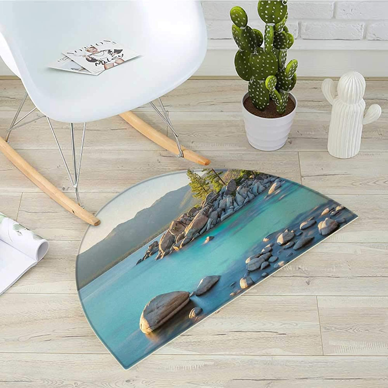 Lake Semicircular CushionPastoral Spring Time Scenery in Provincial Countryside Lake Beach Shallow Water Theme Entry Door Mat H 23.6  xD 35.4  bluee Grey
