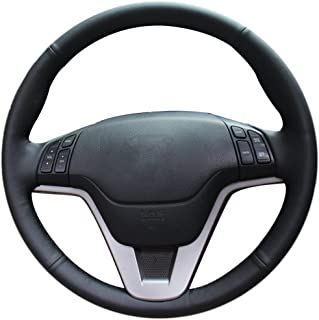 XuJi Hand Sewing Black Genuine Leather Black Thread Steering Wheel Cover for Honda CRV 2007 2008 2009 2010 2011