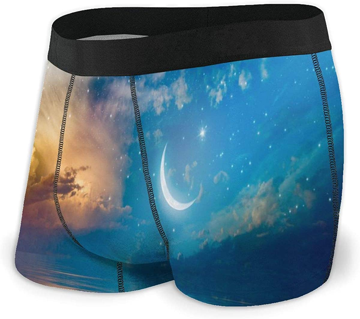 Mens Boxer Briefs Marvellous Moon in The Sky Boys Trunks Underwear Short Leg Breathable Man