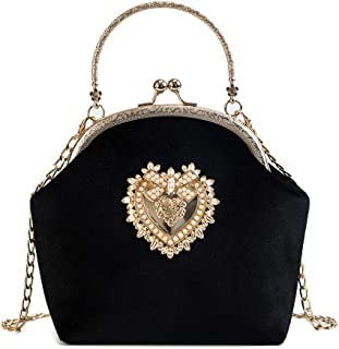 Damen Elegante Abend Clutch Bag - Retro Handtasche Herz Design Hochzeit Braut Samt Geldbörse Schwarz