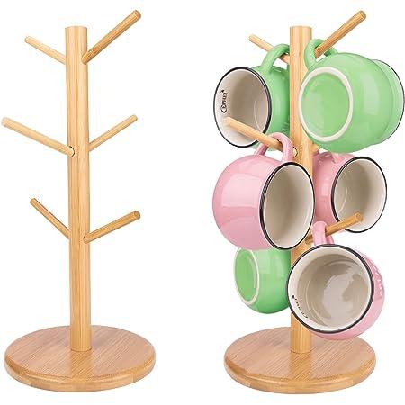 multifuncional para secado de tazas de madera para caf/é tazas de t/é y percha de almacenamiento color blanco Soporte para tazas de cristal AniU de pie