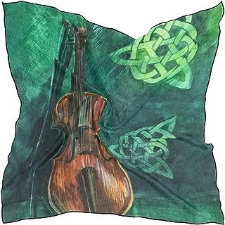 Imitated Silk Neck Scarf Vintage Irish Violin With Fiddlestick Women's Square Neckerchief Headscarf Hair bands