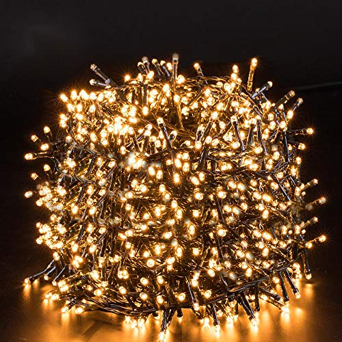 Quntis LED String Lights 25M 1000LED CE Standard Wire Warm White Lamp Plug-in Safe Low Voltage Indoor Fairy Lighting for Christmas Wedding Party Garden