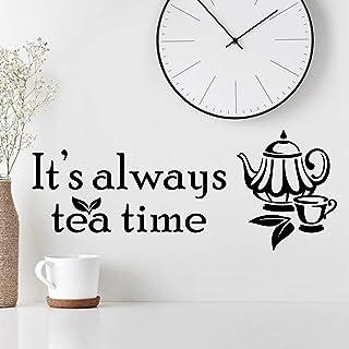 'It's Always Tea Time' väggklistermärke konst kök klistermärken vinyl dekor hem koppar bräda dekal kopp kakel citat kaffe ...