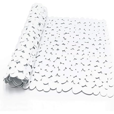 Alfombra Bañera Antideslizante con Ventosa Resistentes al Moho Lavables a Máquina Infantiles Alfombrillas para Bañera 88 x 40 cm (Blanco)