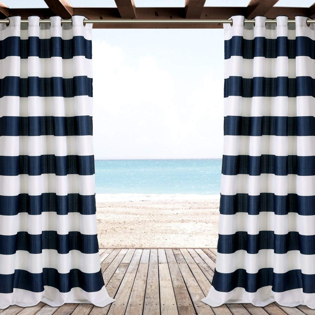 2 piezas 84 pulgadas al aire libre Gazebo cortina, azul marino de rayas de color azul