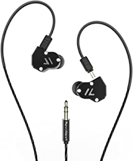 RevoNext QT2 in Ear Monitor Headphones, Triple Driver 2DD+1BA Balanced Armature with Dynamic Metal Shell Noise-Isolating Deep Bass Wired Earbuds with Detachable Cables(Black no mic)