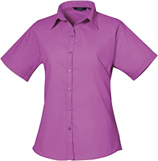 Premier Short Sleeve Poplin Blouse/Plain Work Shirt