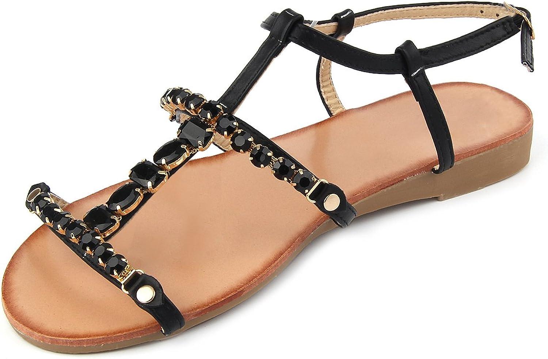 MUDAN Women's Rhinestone Braided Open Toe Flat Sandals by 11 B (M), Black.