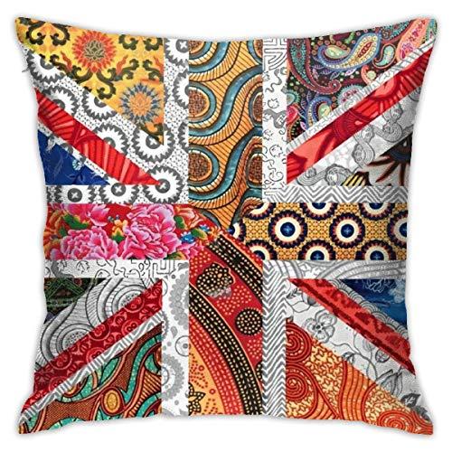 NiYoung Soft Decorative Throw Pillow Cover, Modern Hidden Zipper Pillow Case for Home Sofa Bed, Union Jack Flag UK Mandala Art Square Cushion Cover 18 x 18 Inch/45 x 45 cm
