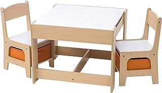 eSituro SCTS0002 Ensemble de Table et chaises pour Enfant Set 1 Table et 2 chaises en MDF Robuste avec tiroir de Rangement...