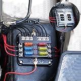 BlueFire 最新 6ウェイ 回路カーボート ヒューズボックス ホルダー 防水 LED警告ライト キット付き ATO ATC ブロックヒューズ ブレードヒューズ 5A 10A 15A 20A 自動車 ボートマリン トライクに適用 DC 12V-32V