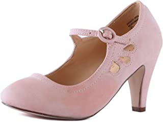 b245a221e3de Womens Vintage Mary Jane Pumps Low Kitten Heels Retro Round Toe Shoe with  Ankle Strap