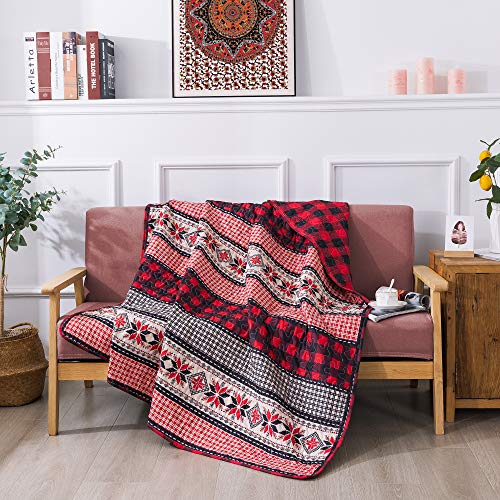 Soul & Lane Season of Joy Plaid Lap Quilt - 50' x 60' | Christmas Buffalo Check Quilted Throw