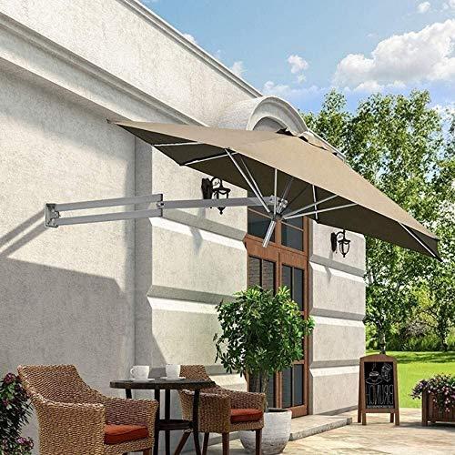 FCXBQ Sombrilla de Montaje en Pared, balcón, Vacaciones, jardín al Aire Libre, voladizo, sombrilla inclinable, sombrilla con Poste de Metal (Color: Caqui)