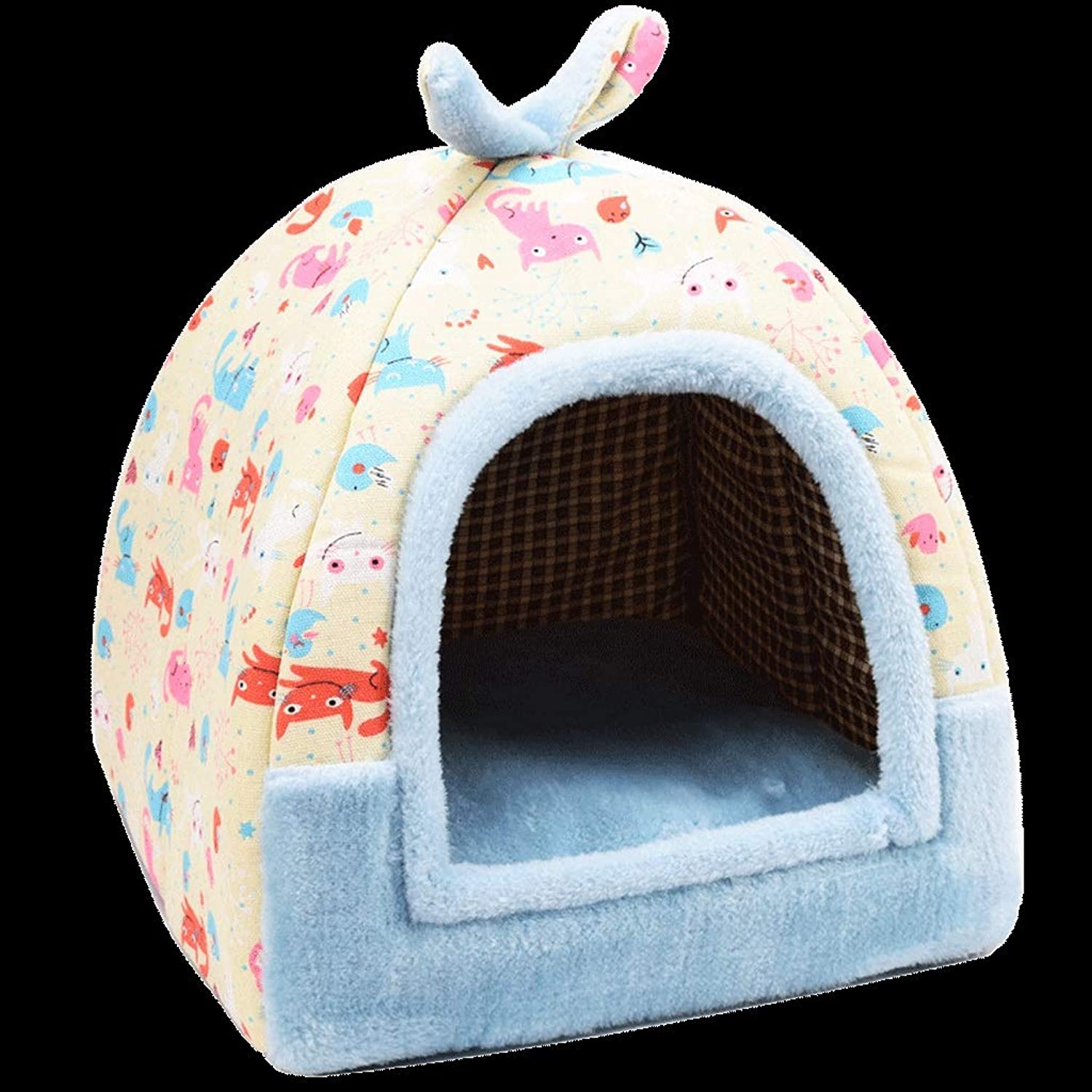 Cat Bed Tent House, 2in 1 Pet Igloo Bed House Self Warming Dog Cat Kitten Triangle Puppy Cave Basket With Removable Cushion (color   C, Size   L)