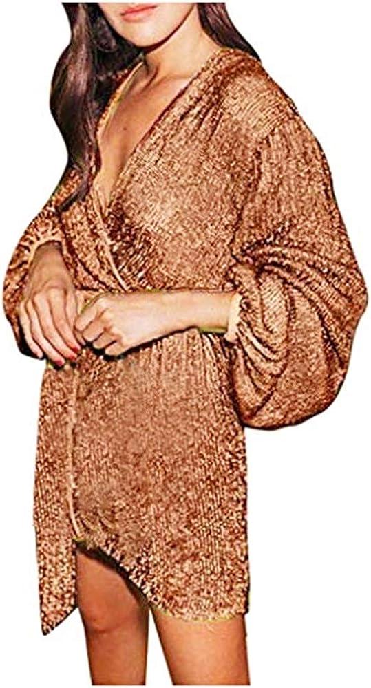 YOMXL Women Sexy Slim Solid Color V-Neck Long Puff sleeve Irregular Mini Dress(Brown,XXL)