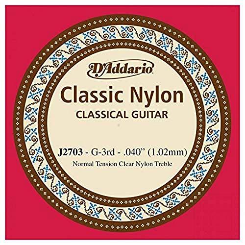 D'Addario J2703 - Cuerda individual de nailon para guitarra clásica, nivel principiante, tensión normal, tercera cuerda, transparente