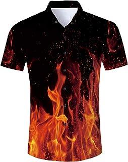 ALISISTER Mens HawaiianShirt 3D Print Casual Button Down Beach Holiday Aloha Short Sleeve Shirt