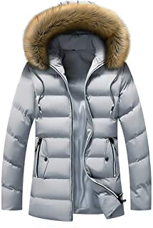 iYYVV Mens Winter Mid-Length Solid Thickened Hoodie Cotton Padded Jacket Down Coat