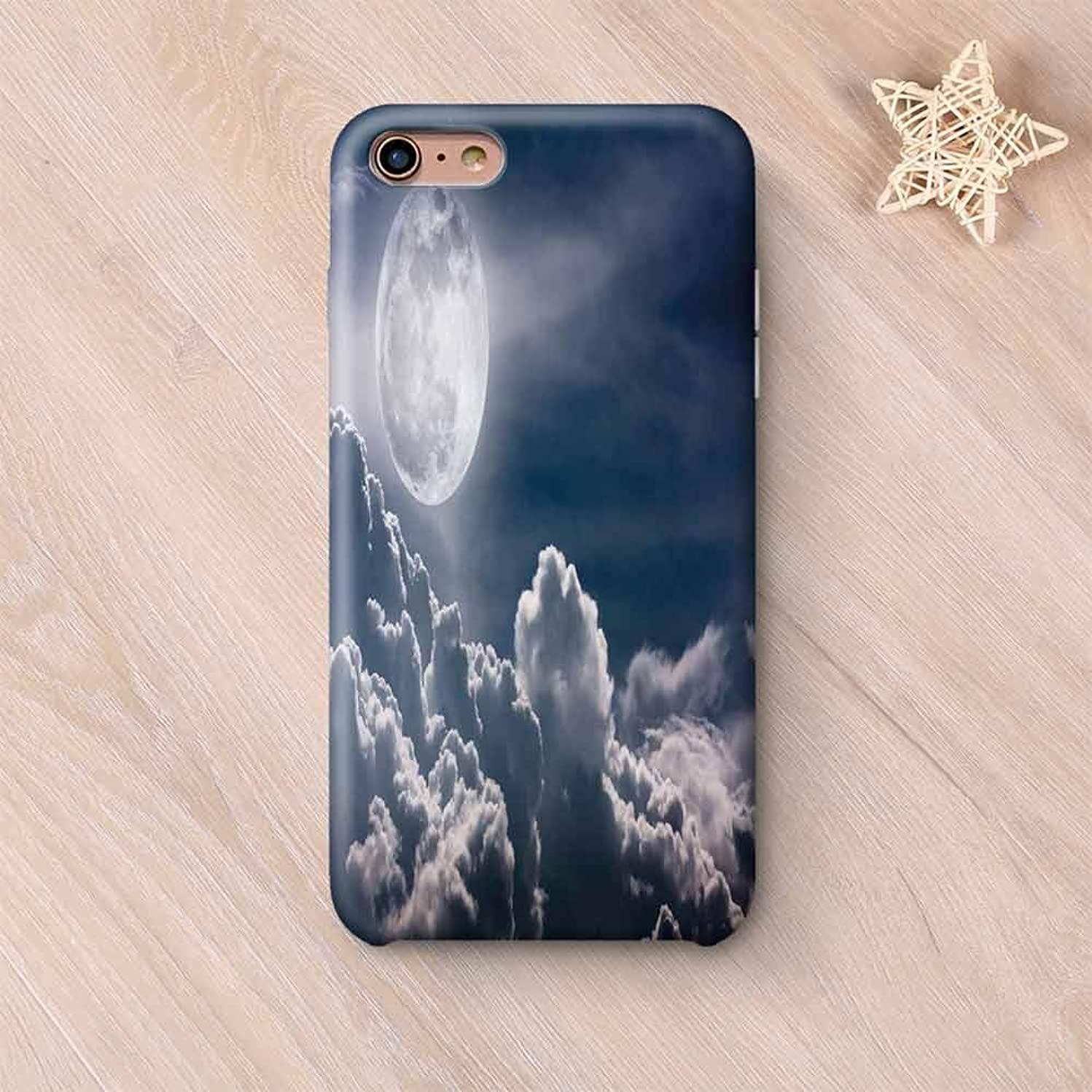 Night Sky Stylish Compatible with iPhone Case,Celestial Photo Big Full Moon and Fluffy Clouds Majestic Dramatic Idyllic Compatible with iPhone X,iPhone 6 Plus / 6s Plus