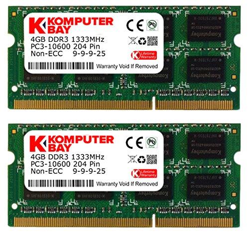 Komputerbay 8Go (2x 4Go) DDR3 SODIMM (204 broches) 1333Mhz PC3 10600 pour Apple 8Go (9-9-9-25)