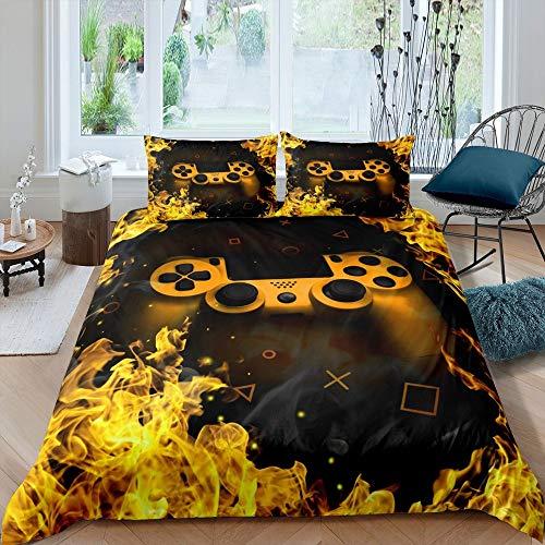 Juego de cama de juego amarillo Super King, juego de cama para niños y adolescentes, juego de videojuegos, juego de cama para niños, juego de cama con 2 fundas de almohada
