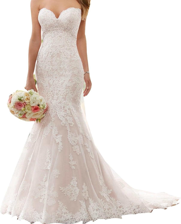 LISA.MOON Women's Sweetheart Mermaid Lace Applique Sweep Train Net Wedding Dress