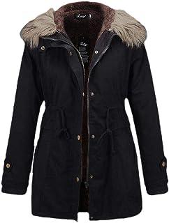 Womens Hooded Faux Fur Outwear Jacket Warm Thicken Fleece Lined Parkas Coat