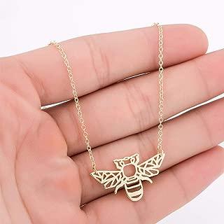 Barhunkft(TM) Minimalist Hollow Animal Origami Bee Shaped Pendant Necklace Fashion Jewelry(Ranom Color)