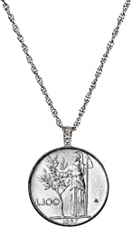Italian Lire Coin Pendant Necklace - L.100 Jewelry Lira Coin from Italy for Collectors with Silvertone Chain and Lobster Claw Clasp - Full Shiny Steel Composition for Women | Elegant Gift Box Included