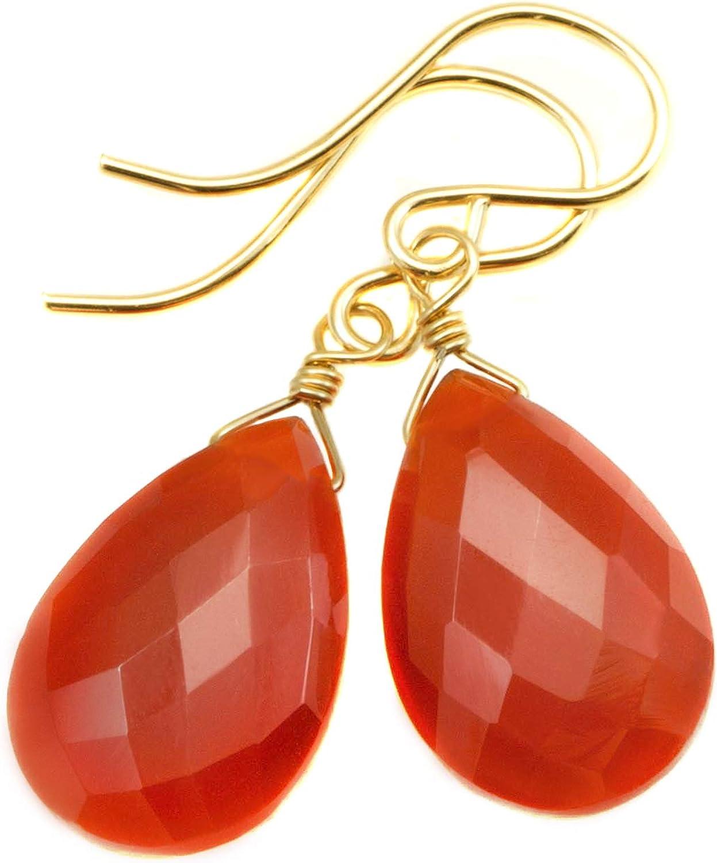 Wire Wrapped Orange Carnelian Earrings Sterling Silver 925 July Birthstone