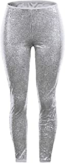 DressU Women's Premium Solid Silm Fit Mid-Rise Sequins Nightclub Pants