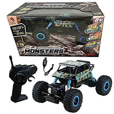 RC Car Rock Crawler Vehicle Remote Control Car ZINGO RACING 9123 1:18 15KM/H RC Car Rock Crawler 4WD High Speed Cross Country Vehicle Children Toys (Build-in USB Battery)